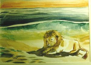 Art -Lion on beach -'83